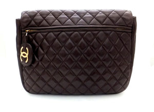 Authentic Chanel Vintage Brown Rare Quilted Jumbo Flap Handbag