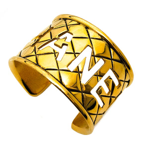 Chanel Vintage Rare CHANEL Letter Cut Out Quilted Cuff