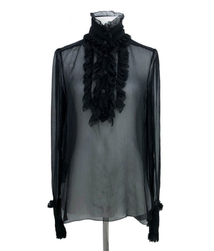 Chanel Runway Black Silk Classic Blouse