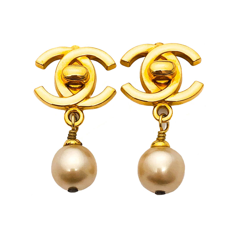 Chanel Vintage Rare Gold Turnlock Pearl Drop Earrings