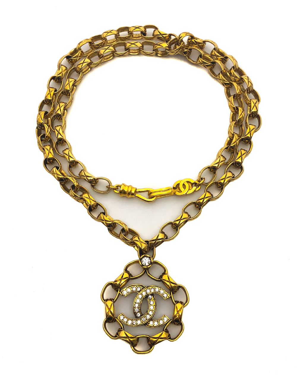 Chanel Vintage Rare Crystal Large Pendant Necklace