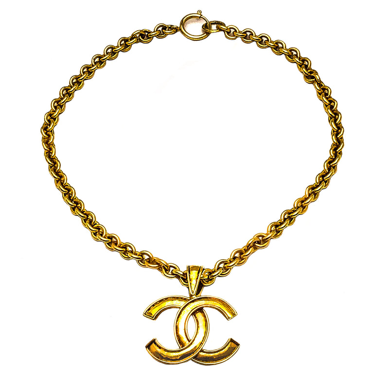 Chanel Vintage Rare Gold Classic Logo Necklace