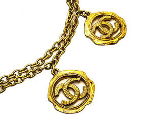 Chanel Vintage Rare Gold Classic Double Chain Five Logo Necklace