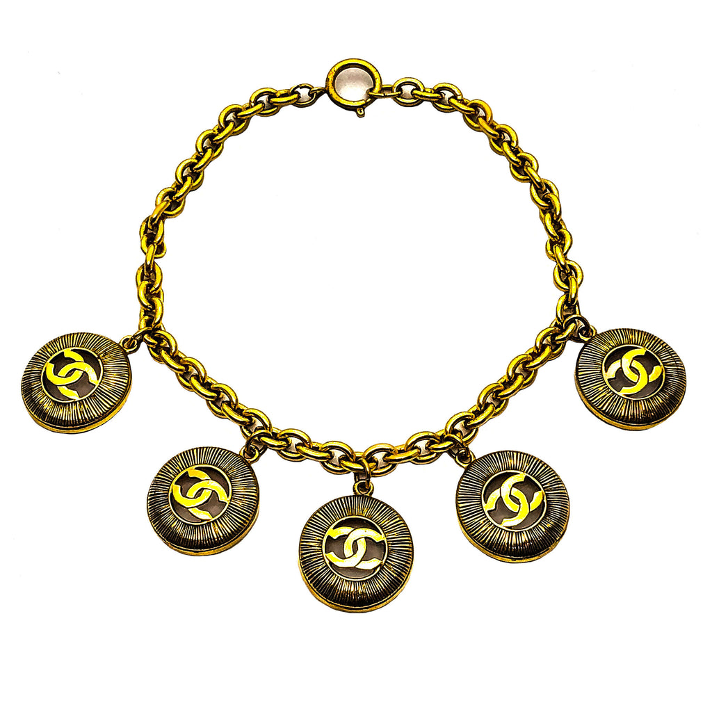 Chanel Vintage Rare Gold Classic Round Five Logo Necklace