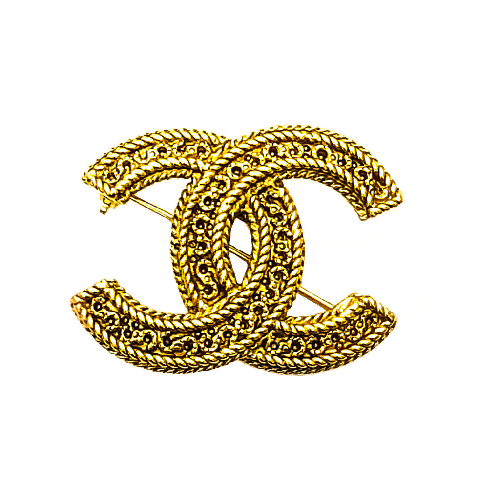Chanel Vintage Gold Classic Logo Pin