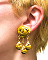 Chanel Vintage Rare Gold Heart Earrings