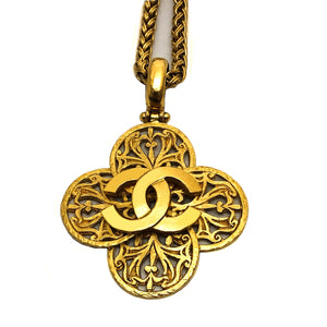 Chanel Vintage Rare Logo Cross Necklace