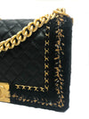 "Chanel Rare Tweed ""Jacket"" Black Lambskin Old Medium Boy Bag"
