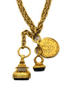 Chanel Vintage Rare Blue Gripoix Charm Necklace