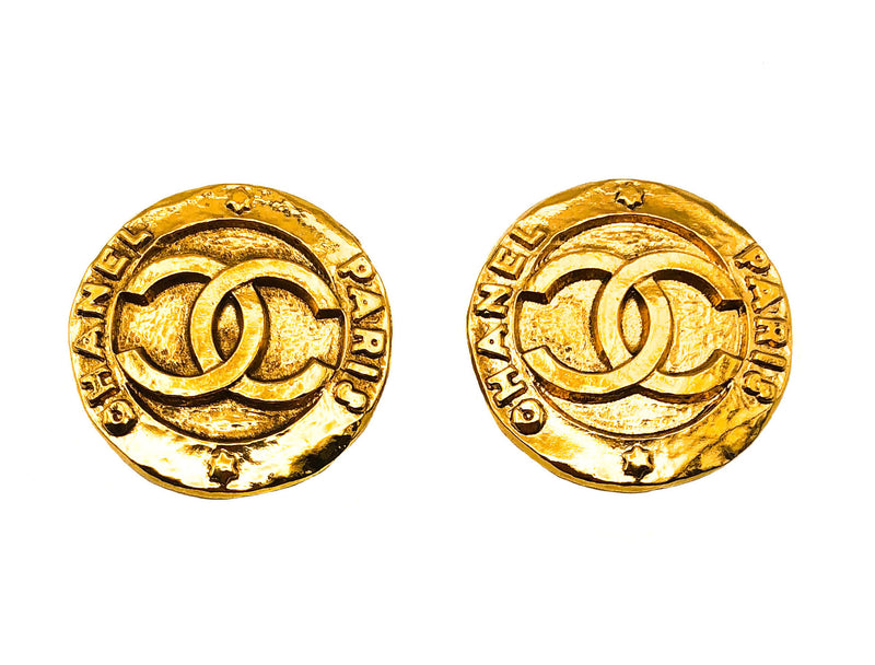 Chanel Vintage Rare Logo Earrings