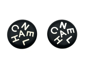 Chanel Vintage Rare Letter Black & White Enamel Earrings