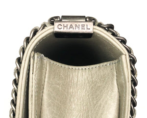 Chanel Rare Taupe Calfskin Distressed Jacket Mini Boy Bag