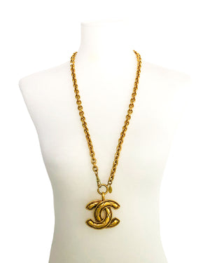 Chanel Vintage Rare Gold Classic Quilted XL Logo Necklace