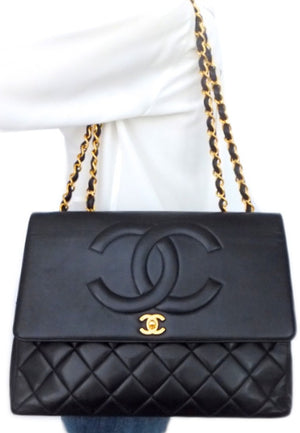 Authentic Chanel Vintage Black Lamb Rare Maxi Jumbo