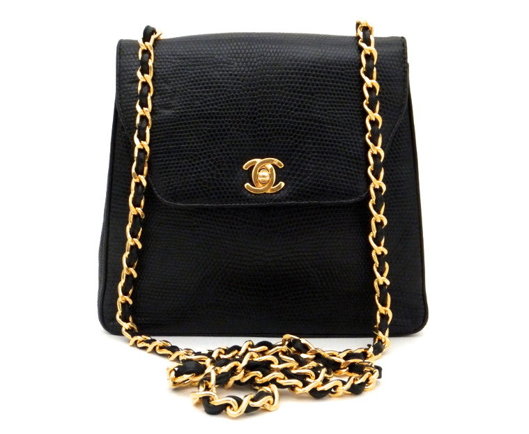Authentic Chanel Vintage Black Lizard Flapover
