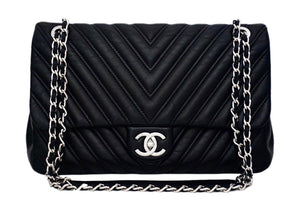 Authentic Chanel Black Chevron Calfskin Jumbo