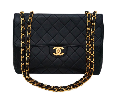 Authentic Chanel Vintage Black Lambskin Jumbo
