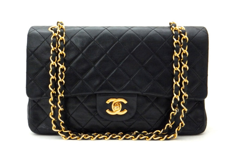"Authentic Chanel Vintage Black Lambskin 2.55 10"" Flapover"