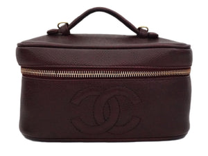 Authentic Chanel Vintage Caviar Burgundy Mini / Makeup Case Handbag