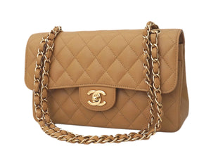 "Authentic Chanel Tan Caviar 2.55 9"" Double Flapover"