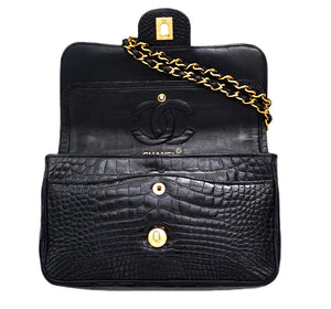 "Authentic Chanel Vintage Black Alligator/ Crocodile 2.55 9"" Flap Handbag"