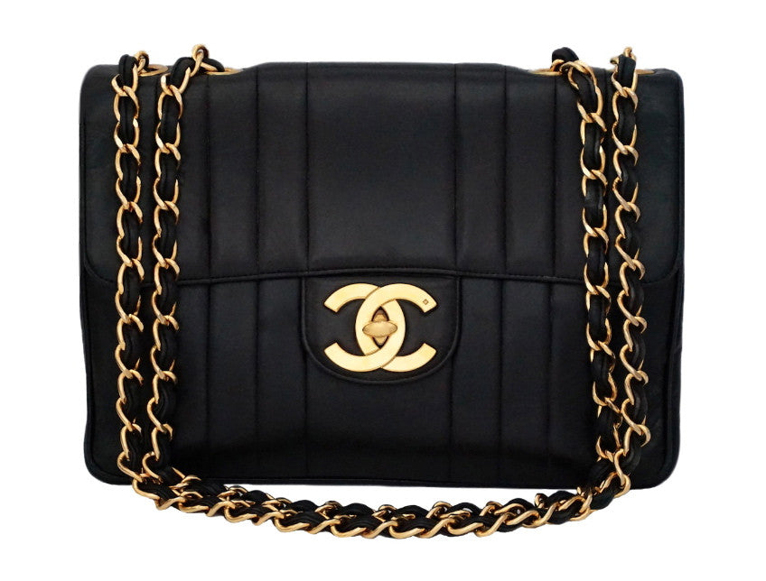 Authentic Chanel Vintage Black Lambskin Vertical Quilted Jumbo