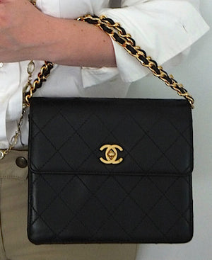 Authentic Chanel Black Vintage Mini 2.55 Flapover