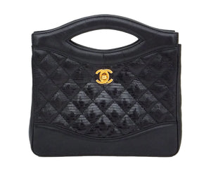 Authentic Chanel Vintage Black Rare Lizard Quilted Handbag