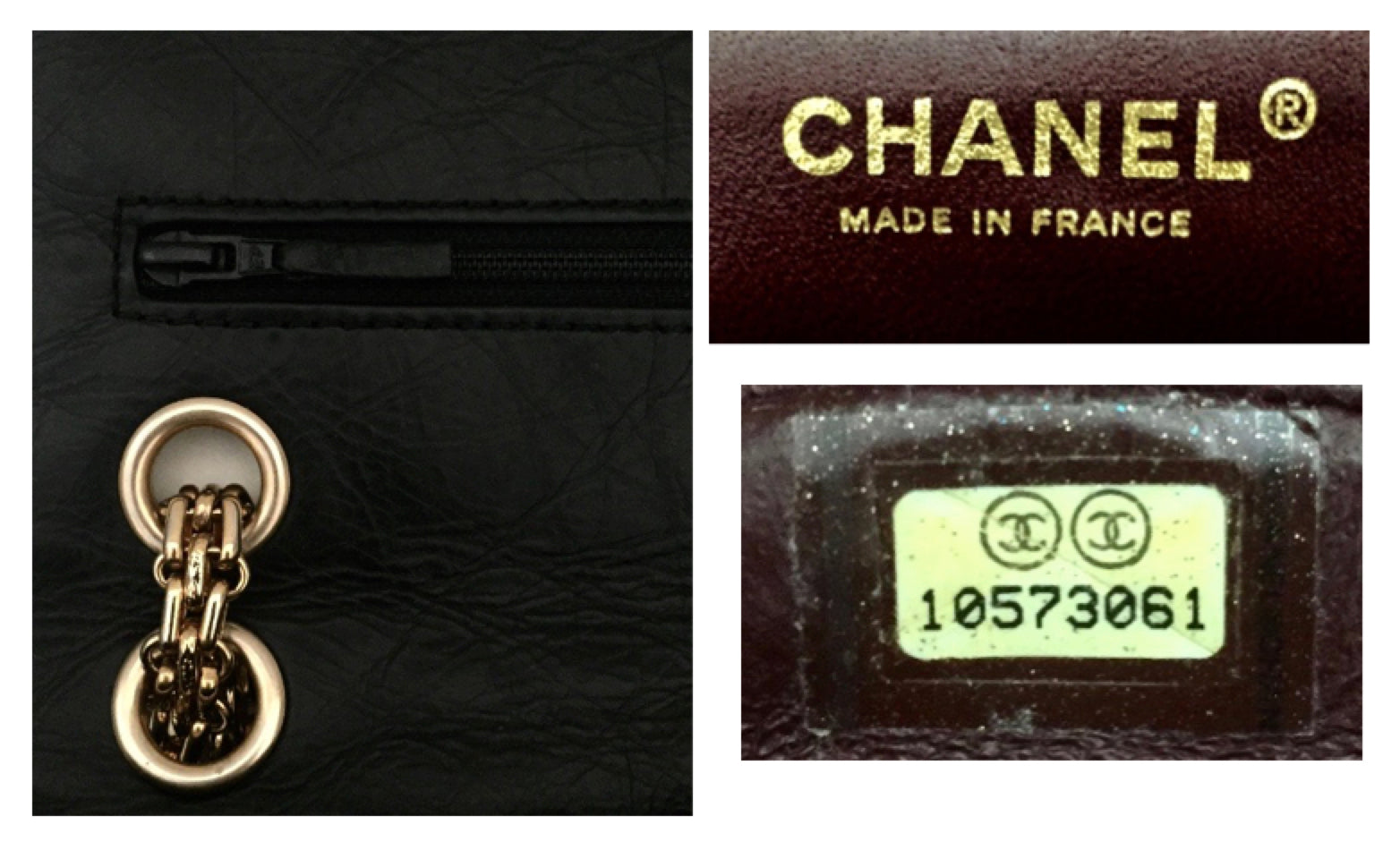 17a3aafe9209 Authentic Chanel Black Crinkled Calfskin 2.55 Reissue 226 Double Flap Jumbo
