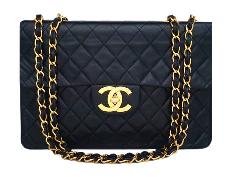 Authentic Chanel Black Lambskin Maxi Jumbo XL