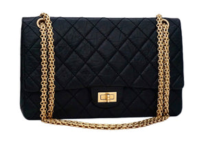 Authentic Chanel Black Crinkled Calfskin 2.55 Reissue 226 Double Flap Jumbo