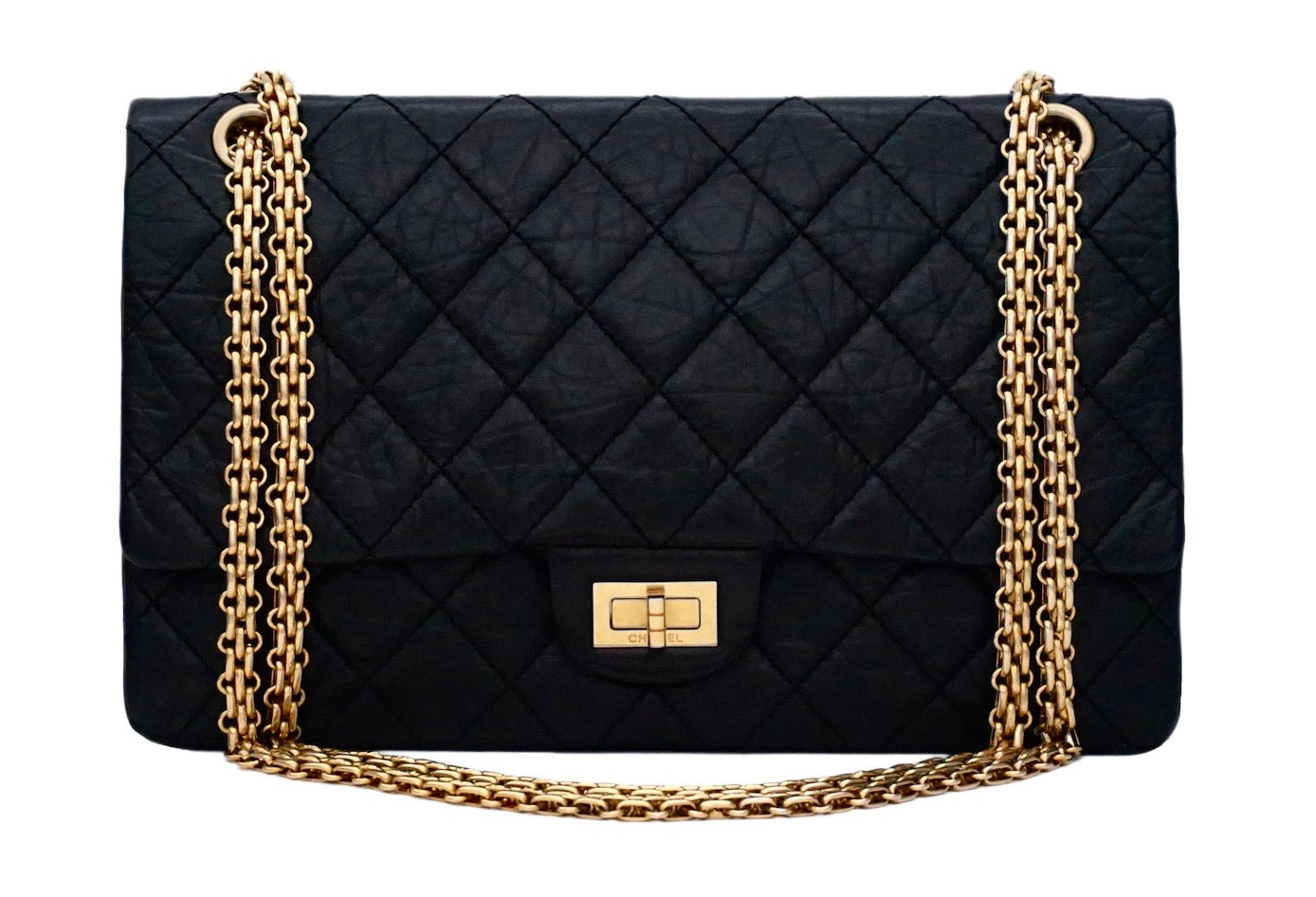 921a43a2cf7b Authentic Chanel Black Crinkled Calfskin 2.55 Reissue 226 Double Flap –  Classic Coco Authentic Vintage Luxury