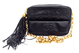 Authentic Chanel Vintage French Navy Quilted Mini Camera Style Handbag