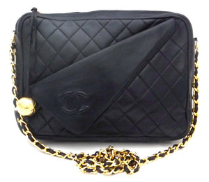 Authentic Chanel Vintage French Navy Quilted Camera Style Handbag