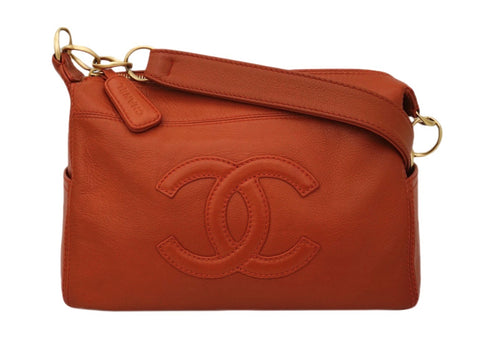 Authentic Chanel Orange Calfskin Modern Tote