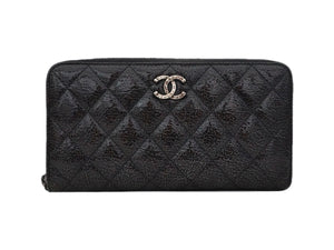 Authentic Chanel Grey Quilted Crinkled Patent Leather Wallet