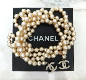 "Authentic Chanel 54"" Logo Pearl Lariat Necklace"
