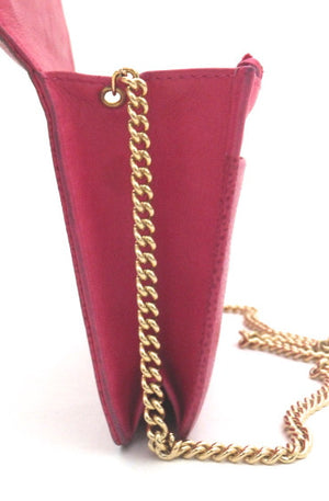 Authentic Chanel Fuschia Pink Caviar Wallet On Chain (WOC)