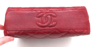 Authentic Chanel Vintage Red Rare Lizard Thick Jewelry Chain Flapover
