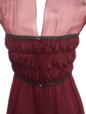 Chanel Burgundy Runway Silk Dress