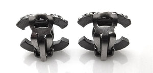 Authentic Chanel Black Gunmetal & Rhinestone Earrings
