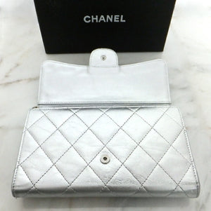 Authentic Chanel Silver Crackle Metallic Wallet on Chain (WOC)