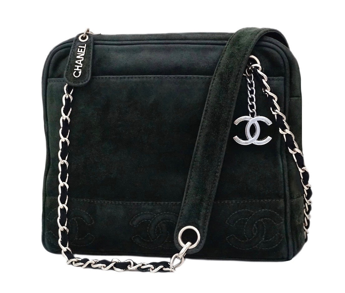 42dbc8a9d34d Authentic Chanel Vintage Green Suede Camera Handbag – Classic Coco ...