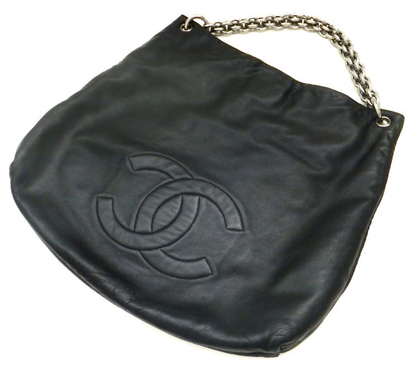Authentic Chanel Soft and Chain Black Jumbo Hobo