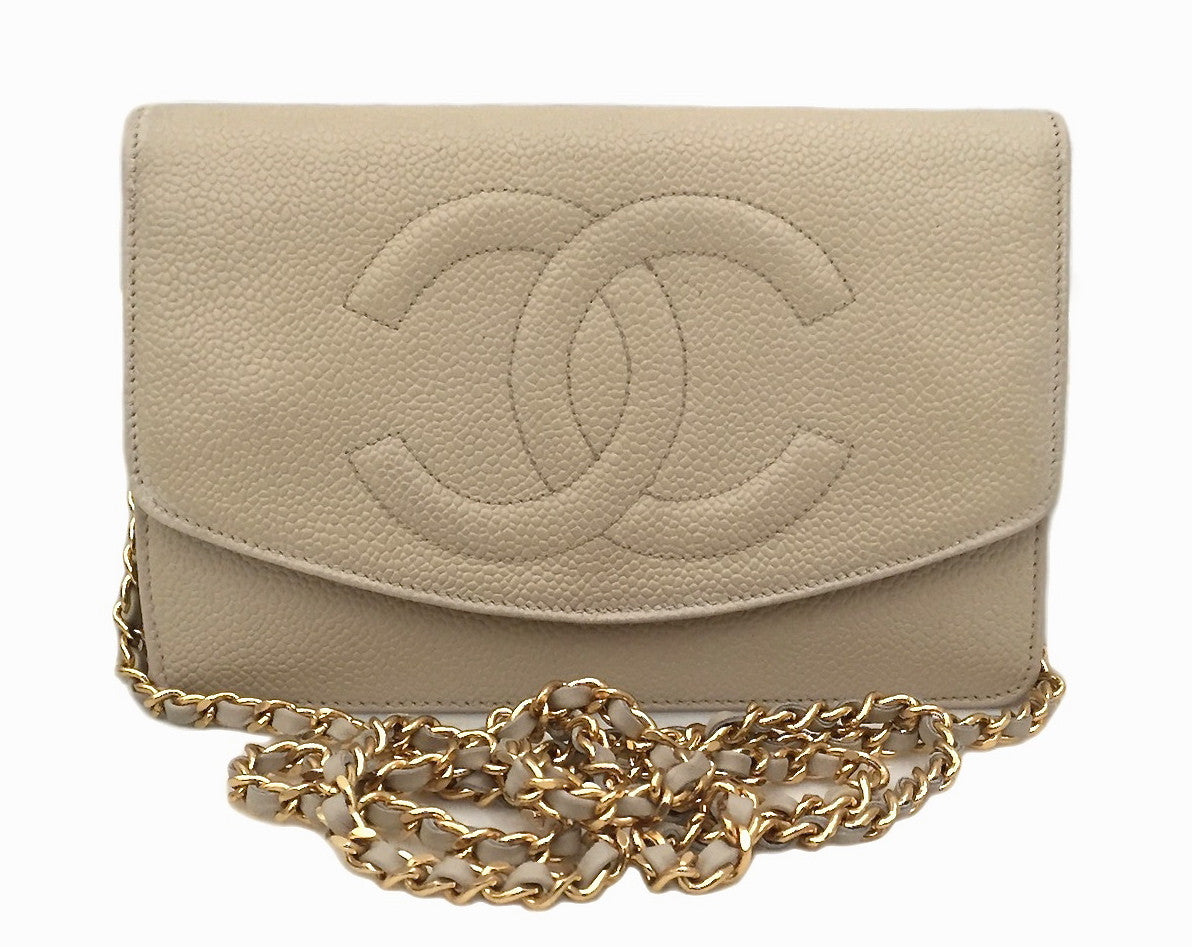 f85d12163b5c Authentic Chanel Vintage Beige Caviar Wallet On Chain (WOC) – Classic Coco  Authentic Vintage Luxury