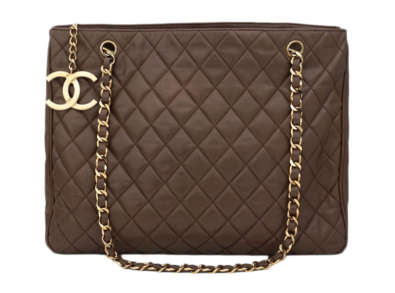 Authentic Chanel Vintage Taupe Quilted Jumbo Tote