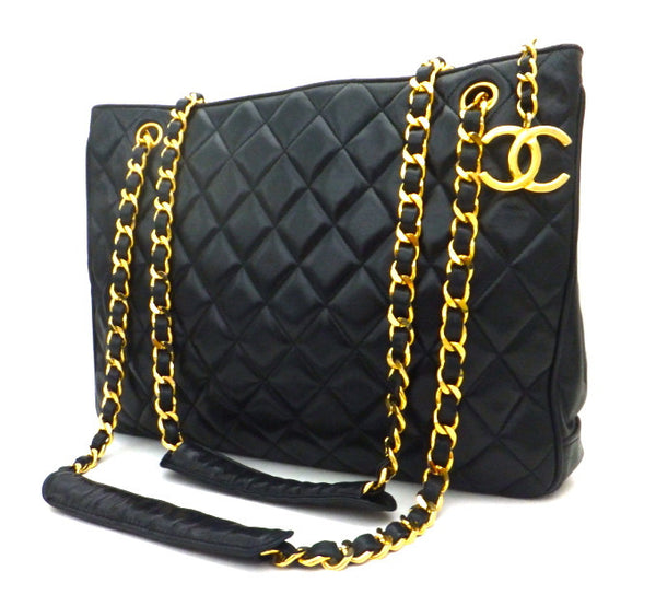 Authentic Chanel Vintage Black Quilted Tote Classic Coco