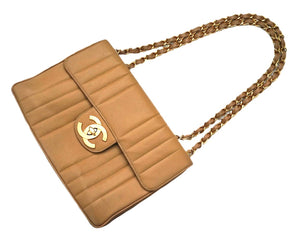 Authentic Chanel Vintage Tan Caviar Vertical Quilted Jumbo