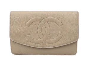 Authentic Chanel Vintage Beige Caviar Wallet On Chain (WOC)