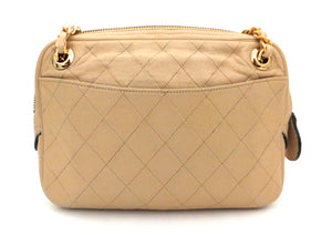 Authentic Chanel Vintage Tan Quilted Camera Style Handbag